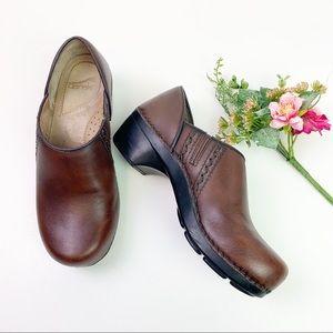 Dansko Sienna Brown Leather Clogs Size 38
